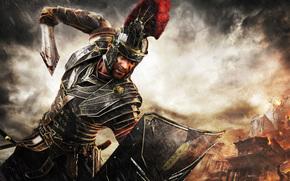 pioggia, scudo, spada, Roma, Marius Titus, NUVOLE, guerriero