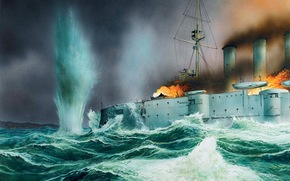 арт, британский, броненосный крейсер, сражение у порта Коронель, Чили, столбы пламени, рисунок, взрывы, гибель корабля, море, волны