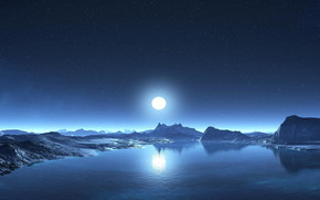 небо, вода, берег, Луна, горы, звезды