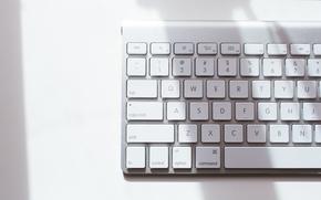 белая, клавиатура, кнопки, буквы, Hi-Tech