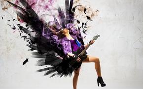 rock, wings, Music, smoke, guitar, girl