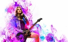 Música, guitarra, rock, chica