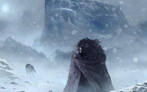 inverno, John Snow, nevicata, freddo, Art, lupo, Game of Thrones