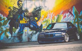 BMW, blue, graffiti, tuning, BMW