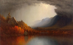 autumn, landscape, lake, CLOUDS, forest, picture