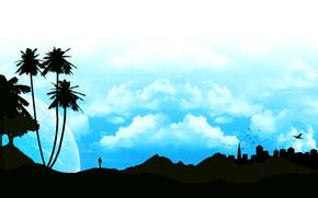 palma, silhouette, paesaggio, cielo, Profilo, nuvole, uomo, città