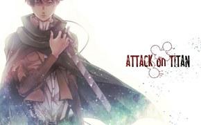 атака титанов, меч, Эрен, взгляд, пожар