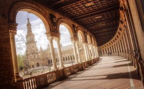 мост, колоны, фонтан, площадь, люди, Севилья, Андалусия, Испания