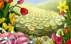 Flowers, tulip, Art, camomile, Easter, field, tape