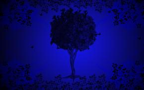 drzewo, tło, 3d, sztuka