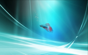 Windows 7, wallpaper, 3d, art, small fish