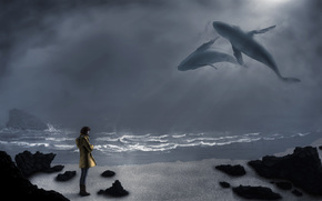 волны. камни, желтая куртка, взгляд, киты, небо, девушка, море, сапоги