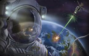 space suit, Art, Satellite, land, space, Astronaut, planet, BEAM