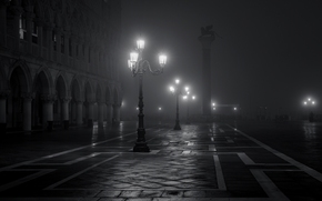 Venice, black and white, Italy, fog, city, night, Piazza San Marco, lights