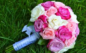 bouquet, mariage, Roses, Anneaux, herbe, Engagement