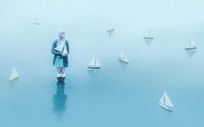 barche, ragazza, acqua
