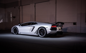 shadow, Lamborghini, back view, Lamborghini, wing, headlights, white, Aventador, black wheels