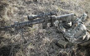 сумка, трава, снайперская, оружие, винтовка