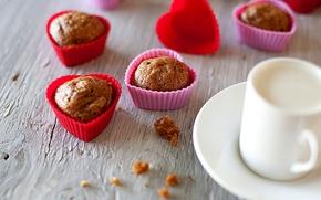 кексы, сердце, пирожное, десерт, молоко, сладкое, чашка, любовь, еда