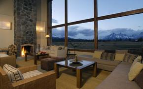 home, interior, villa, lounge, fireplace, style, design