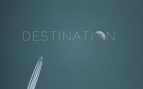 plane, flight, moon