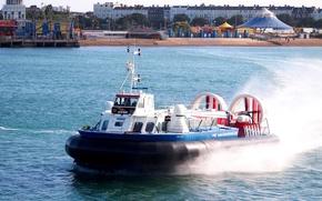 пляж, Другая техника, скорость, берег, брызги, корабль на воздушной подушке, залив