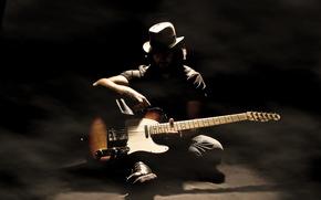 músico, Música, guitarra, sombra