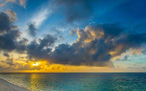 рассвет, океан, индийский