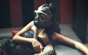 posa, ragazza, maschera