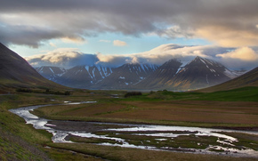 river, valley, Mountains, clouds, Iceland