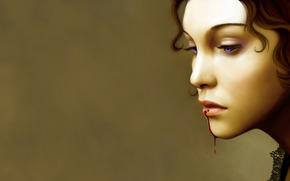 волосы, глаза, кровь на губах, фон, губы, лицо, капает, кровь, профиль, девушка