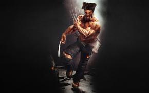 Wolverine, clutches, running, black background, rain, cigar, Logan, evil