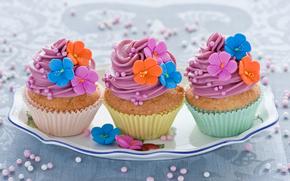 Crema, dolce, alimento, Multicolore, decorazione, Cupcakes, fiori, cottura, torte, Dessert, ROSA