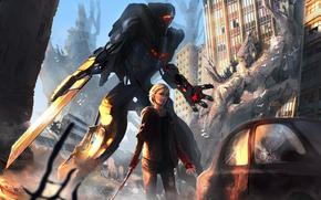 машина, меха, робот, меч, оружие, руины, арт, девушка, город