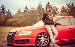 girl, Car, Wheel, red, tuning, LIGHTS, Audi, Audi