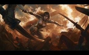 клинки, девушка, арт, битва, оружие, разрушение, нападение, броня, огонь, фантастика