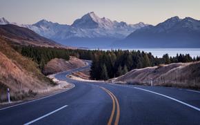 distancia, visión de conjunto, curvas, carretera, Bosques, horizonte del cielo, mirar., Hills, Montañas, vientos, río, vueltas