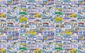 американские штаты, фон, текстуры, буквы, номера, США, знаки, цифры