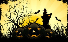 луна, страшилки, праздник ужасов, праздник, улыбка, замок, веселые тыквы, хэллоуин, дерево, мыши