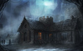 gloomily, Art, building, city, night