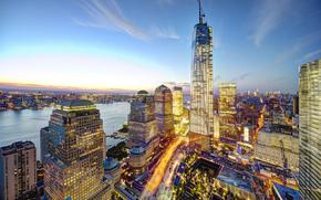 New York, USA, city, Manhattan, World Trade Center, panorama, evening, High-rise buildings, Skyscrapers, home, lights, building