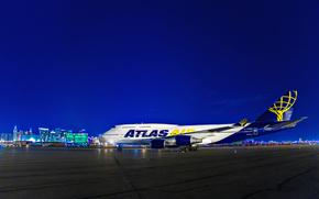 USA, night, plane, Las Vegas, NV, McCarran, International Airport, lights
