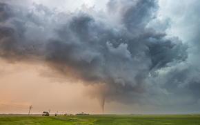 storm, field, CLOUDS, road, sky, tornado
