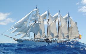 Другая техника, корабль, учебный, бригантина, море