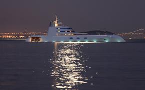 огни, мега яхта, вечер, море., ночь, мосты, Другая техника, гора, яхта