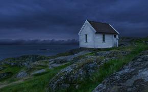 небо, ночь, тучи, домик, синее, озеро, Норвегия