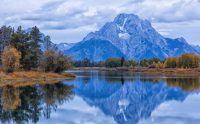river, clouds, CLOUDS, morning, USA, reflection, Mount Moran, water, Wyoming, autumn, Grand Teton, smooth surface, sky, Snake River, forest, trees