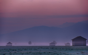 Karwendel, Germania, Alpi, Colline, cielo, Lampone, haze, radura, case, alberi, mattinata, Montagne, nebbia, prima dell'alba, Bayern