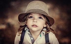 sombrero, degradación, retrato, ver, chica