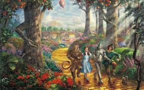 воздушный шар, лес, желтый кирпич, дорога, плоды, живопись, Страшила, фильм, радуга, анимационный, цветочные клумбы, собачка, злая ведьма, Трусливый Лев, Дороти, деревья, Дисней, Тото, Томас Кинкейд, Железный Дровосек, персонажи, муль